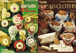 2X Cross Stitch 11 Jar Lids & 9 Bread Cloths Pattern Leaflets - $11.99