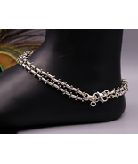 925 Solid silver handmade silver beads anklet gorgeous ankle jewelry foo... - $69.29