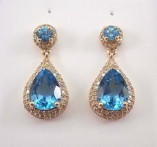 5Ct Pear Cut Blue Topaz Diamond Halo Dangle Drop Earrings 14K Yellow Gol... - $132.99