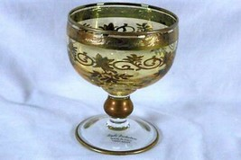 Bigibi Productions Italy Crystal Gold Band With Etched Floral Wine Glass - $11.93
