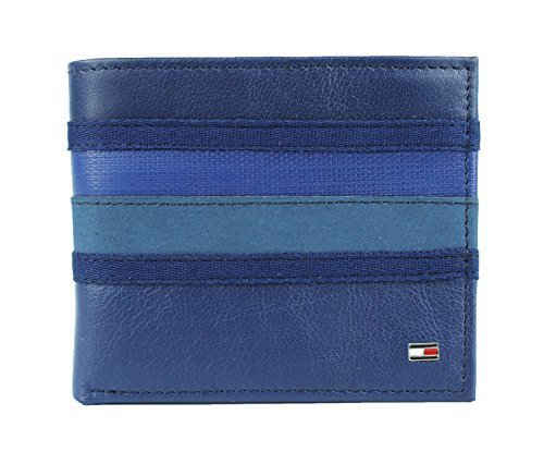 New Tommy Hilfiger Men's Leather Double Billfold Passcase Wallet & Valet / Cobal