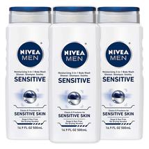 NIVEA Men Sensitive 3in1 Body Wash Shampoo Soap And Dye Pack of 3 NEW - $14.52