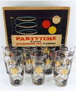 Libbey Partytime Set of 7 Old Coins 12.5 oz Tumblers Glassware MCM Gold ... - $44.54