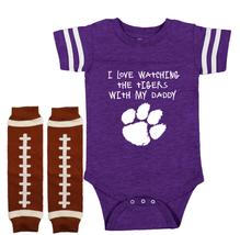Clemson  Tigers Shower Gift Onesie Bodysuit Jersey Watching With Daddy - $22.95+
