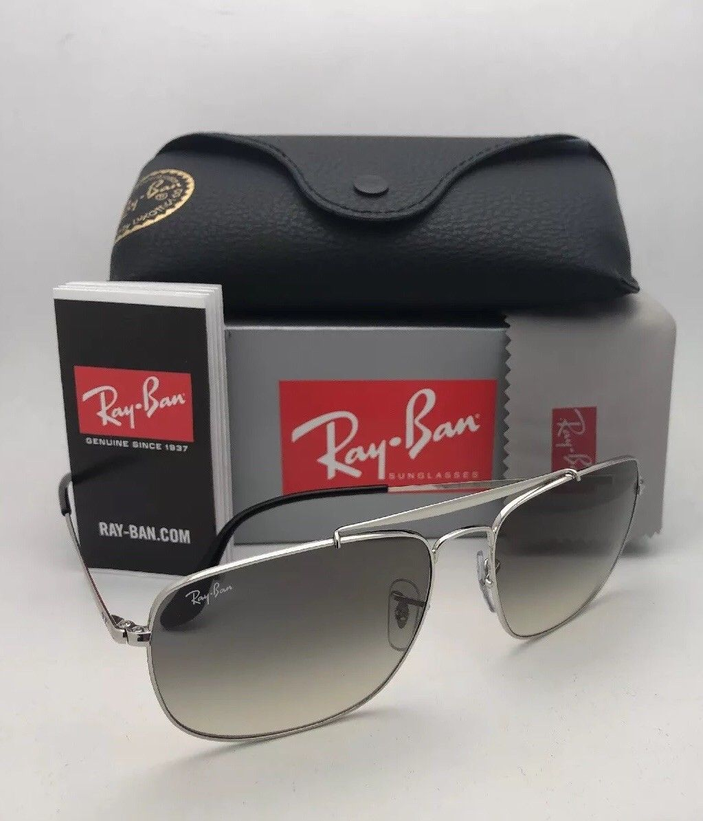 Primary image for RAY-BAN Sunglasses THE COLONEL RB 3560 003/32 58-17 Silver Aviator w/ Grey Fade