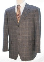 Trussini Blazer Jacket Mens 40 Italy Silk Cashmere Windowpane See Measur... - $24.70