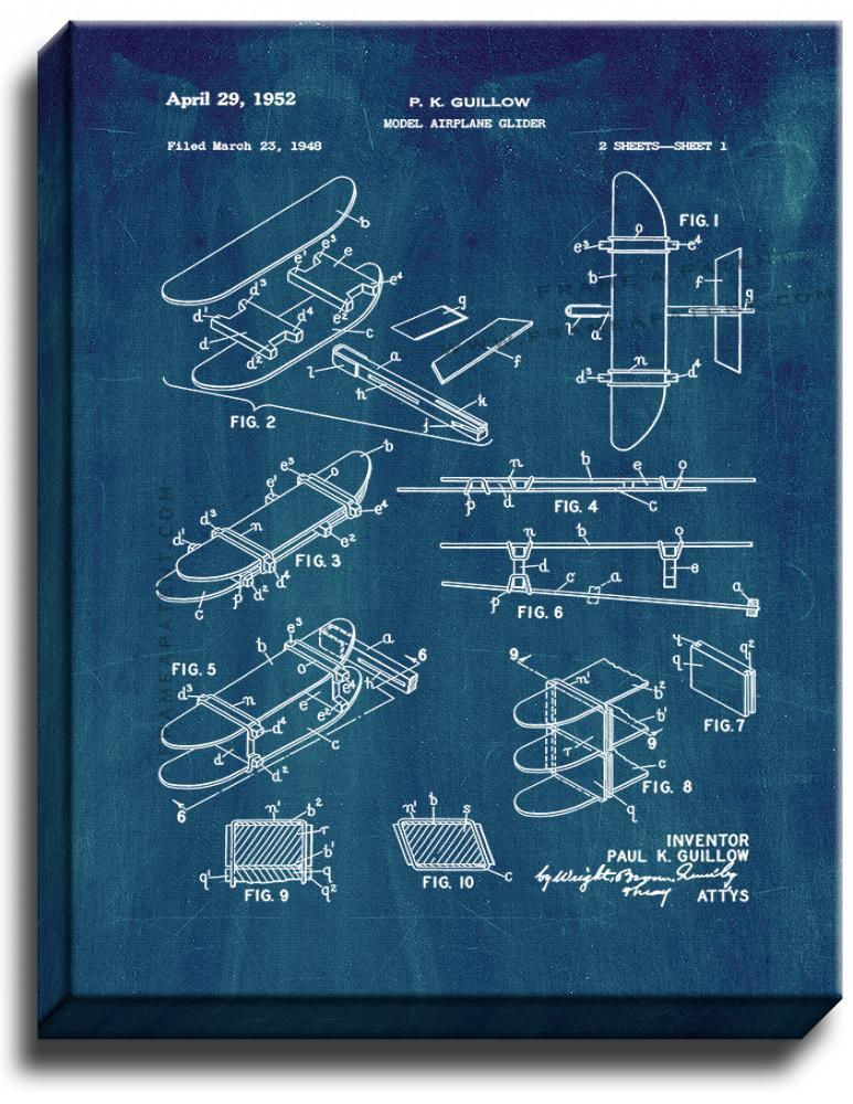 Primary image for Model Airplane Glider Patent Print Midnight Blue on Canvas