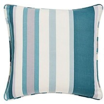 "2 X Filled Printed Vertical Stripe Green Grey Cream Piped 18"" - 45CM Cushions - $28.78"