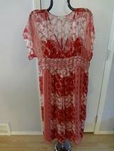 Women's Dressbarn Sz 14 NWT Dress Flowy Red Floral Print Layered - $27.81
