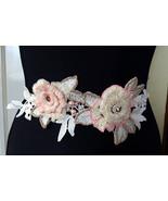 Wedding sash Ivory bridal belt Wedding dress sash Floral sash Ivory bead... - $79.00