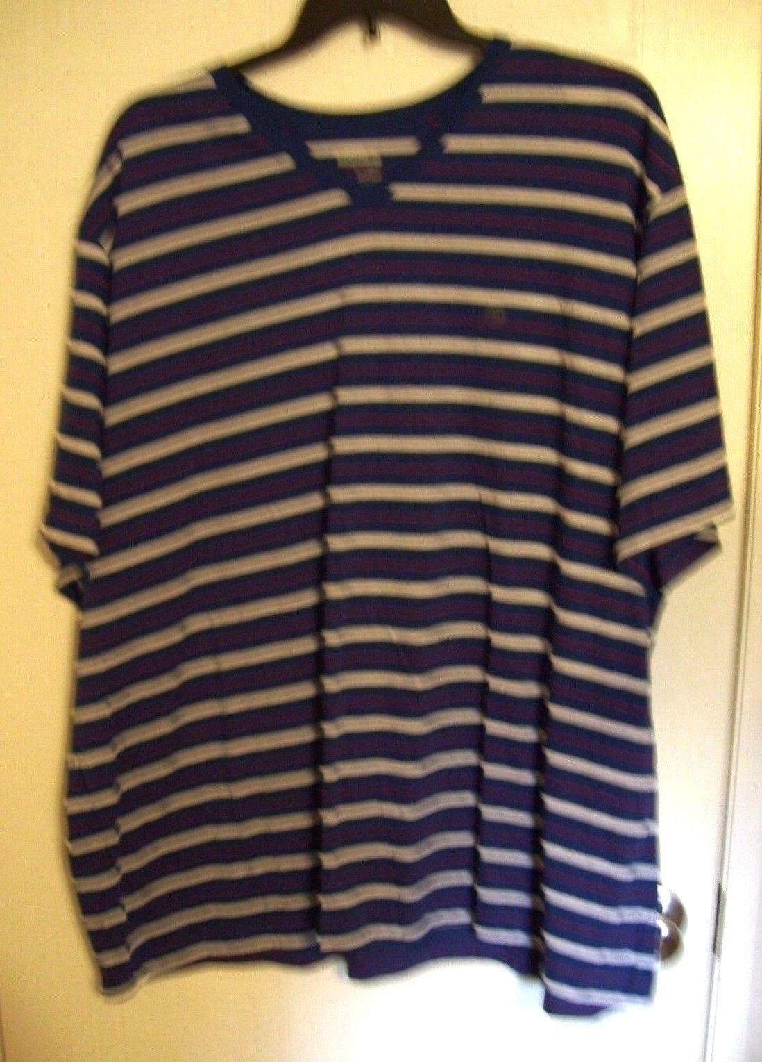 5bb386bdd4 Basic Editions Big Men's Casual Striped V-Neck Short Sleeve Shirt - Size:  4XL