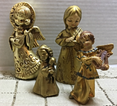Vintage Christmas !! Set Of Four Golden Angels Angel Figurines Paper Mache - $13.99