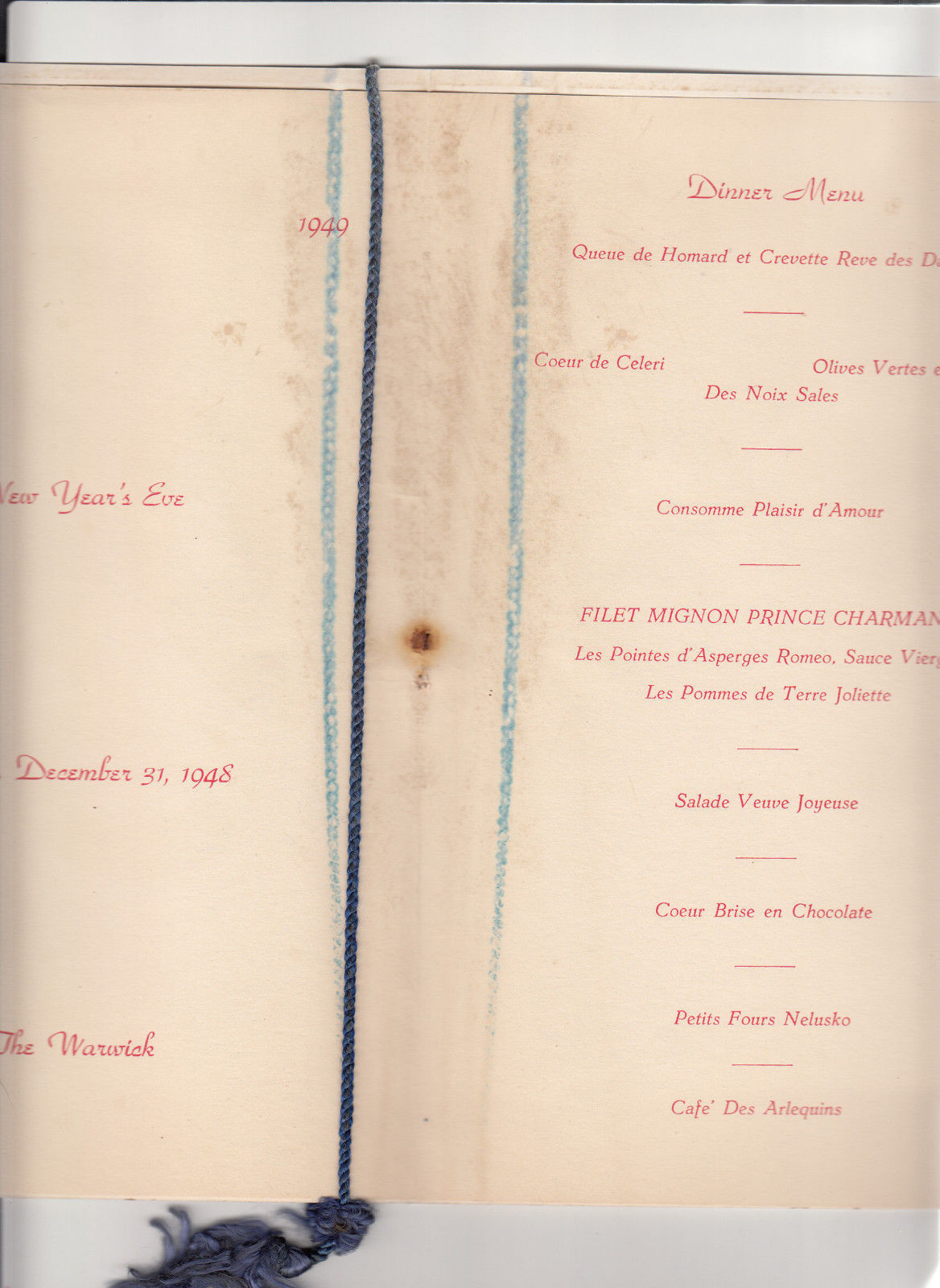 The Warwick Hotel Philadelphia PA Happy New Year Menu 1949