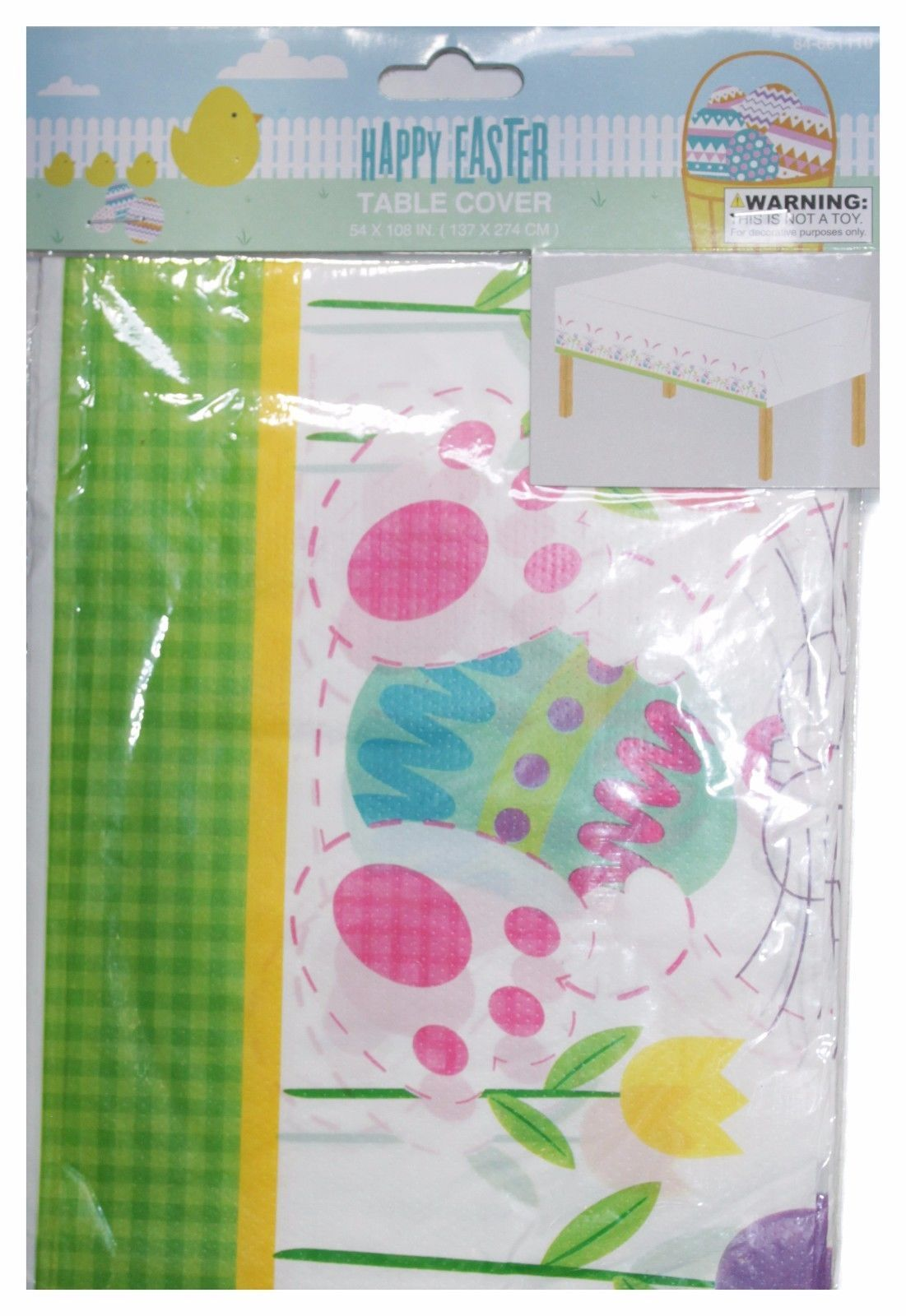 MOMENTUM BRANDS Party Supplies TABLE COVER White+Green+Yellow+Pink EASTER Decor