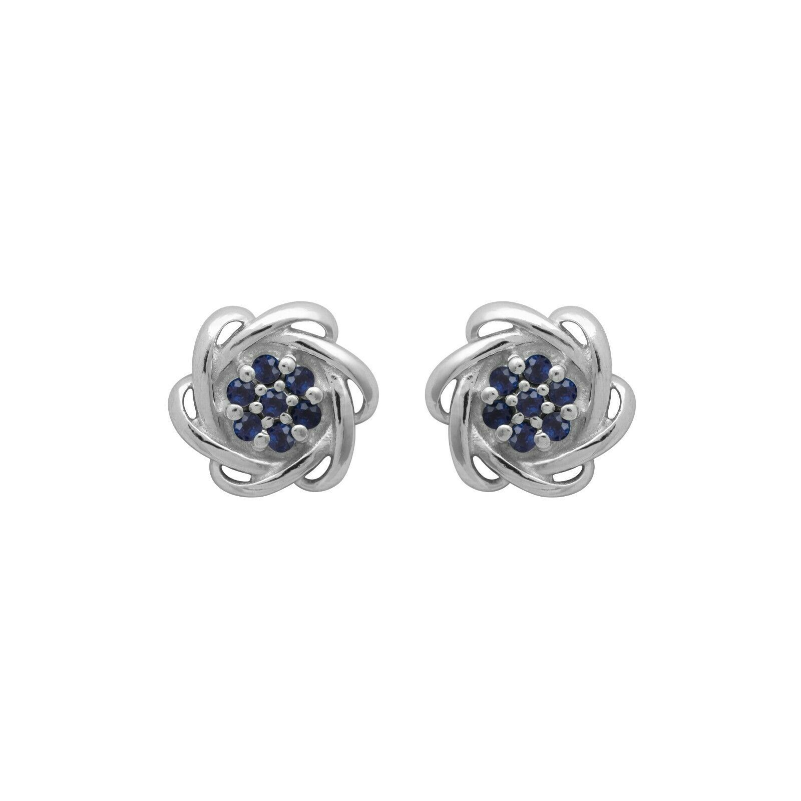 Cluster Stud Earring 925 Sterling Silver Round Blue Sapphire Gemstone