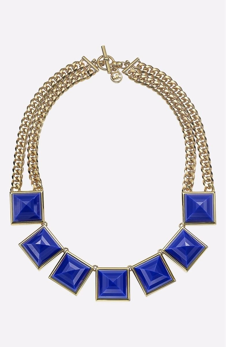 Primary image for MICHAEL KORS MKJ2982 GOLD PLATED LARGE BLUE PYRAMID NECKLACE BNWT $295