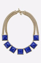 MICHAEL KORS MKJ2982 GOLD PLATED LARGE BLUE PYRAMID NECKLACE BNWT $295 - $125.75