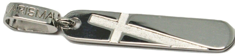 Pendentif Croix Karisma en or Blanc 18K 750 A Plaque Gravé Fabriqué en Italie