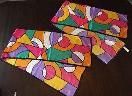 PAIR of Scarves Echo Brand Stained Glass Design Virginia Super Slims Cig... - $17.82