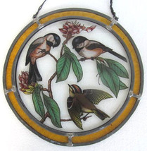"1979 Vintage Glassmasters Handpainted Glass Sun Catcher ""Birds""  Metal &... - $39.99"