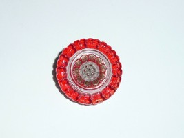 Gorgeous Red & White w/ Gold Finish Flower Czech Glass Button 23mm - $4.94