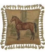 "New Aubusson Throw Pillow 20\""x20\"" Horse Facing Left - $369.00"