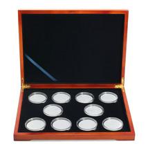 Rectangle Oak Coin Storage Case 10 Coins Organizer Holder NGC PCGS Grade - $31.48