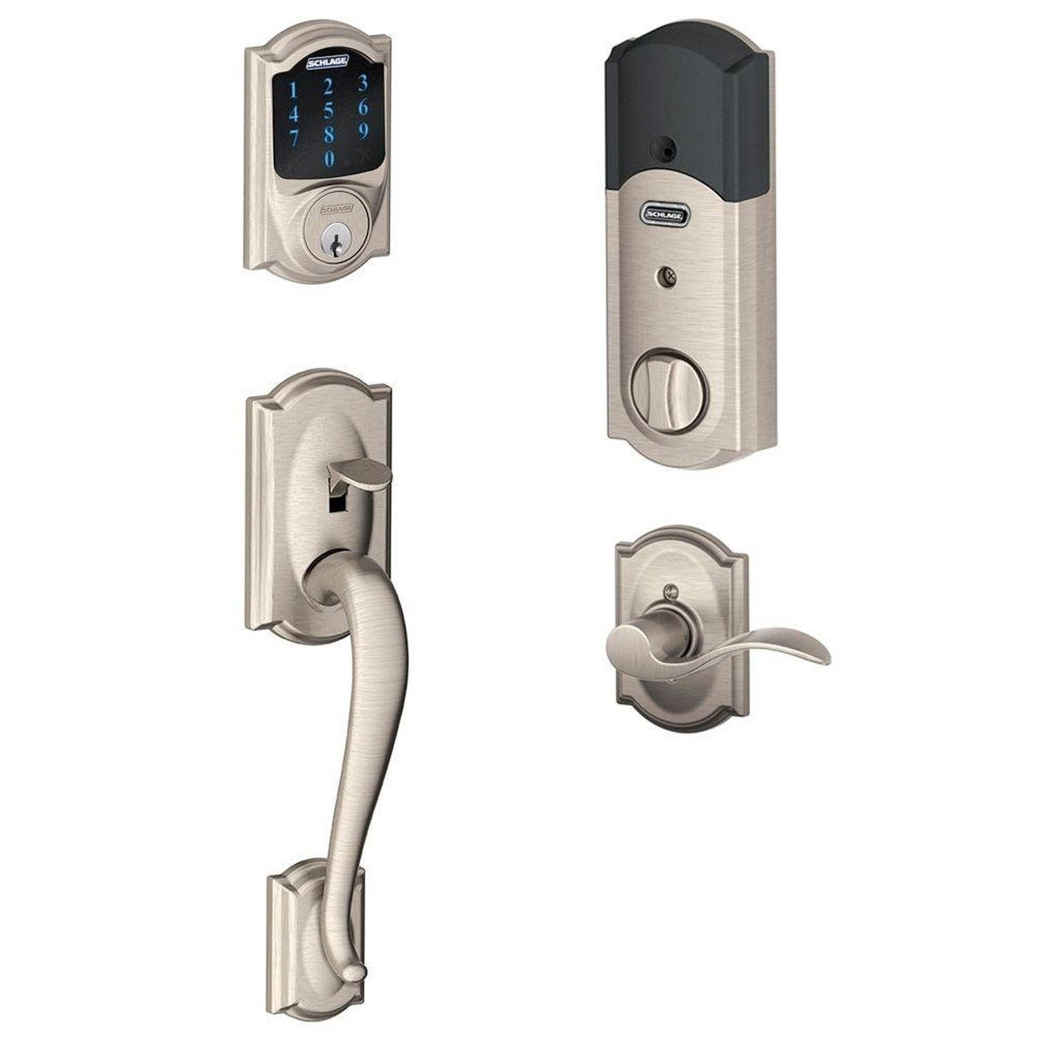 Schlage Connect Camelot Touchscreen Deadbolt with Built-In Alarm and Handlese...