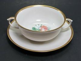 Lamberton Porcelain SPRING GARDEN CREAM SOUP & SAUCER SET Made in USA - $12.73