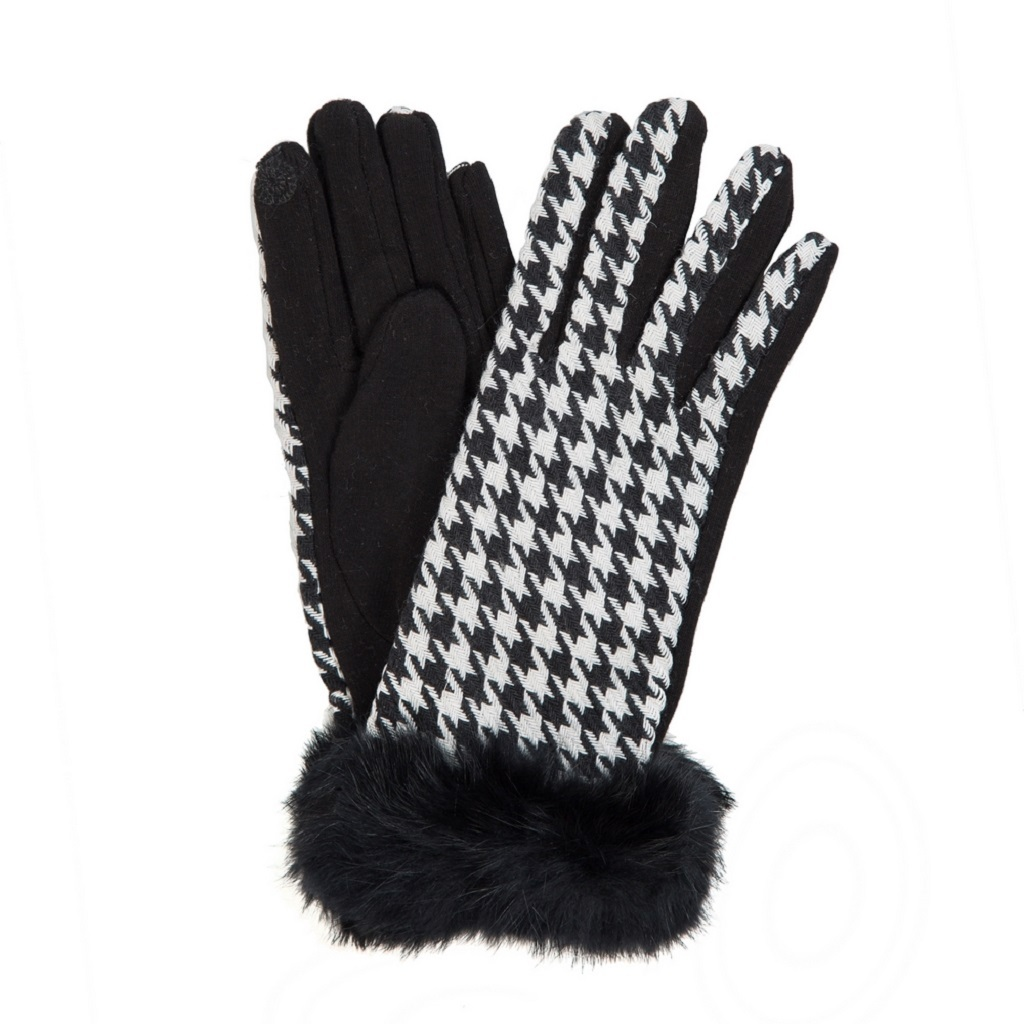 Houndstooth Touch Gloves