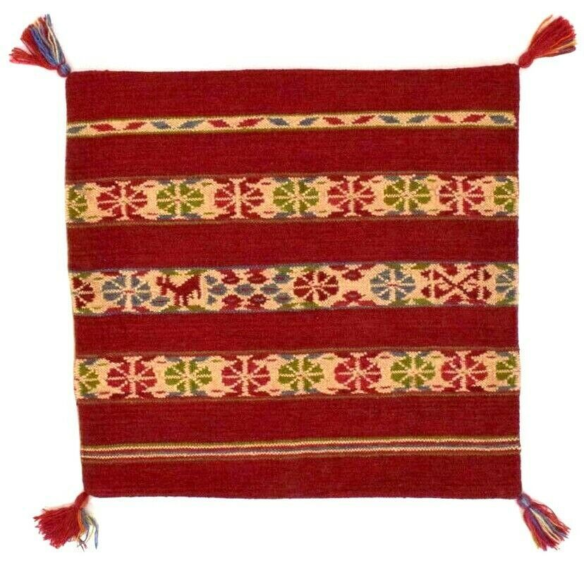 Pottery Barn Dhurrie Wool Red Kilim Pillow Sham Cover Square Tassel Striped 2' - $44.54