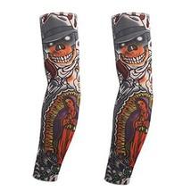PANDA SUPERSTORE 1-Pair Hat Skull Temporary Tattoo Sun Sleeves Body Art Arm Cove