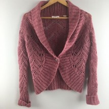 Loft Cardigan Sweater M Medium Dusty Rose Pink Wool Mohair Blend Openwork - $19.80