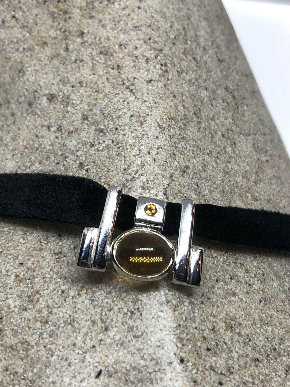 Vintage Citrine Choker Pendant 925 Sterling Silver Deco Necklace
