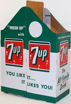 Vintage soda pop bottle carton 7 UP 2 pack quarts unused new old stock n... - $12.99