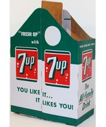 Vintage soda pop bottle carton 7 UP 2 pack quarts unused new old stock n... - $12.99