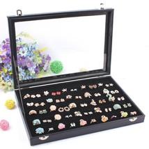 Jewelries Organizer Ring Display Case Jewelry Box Glass Lid Locks 100 Sl... - $26.23