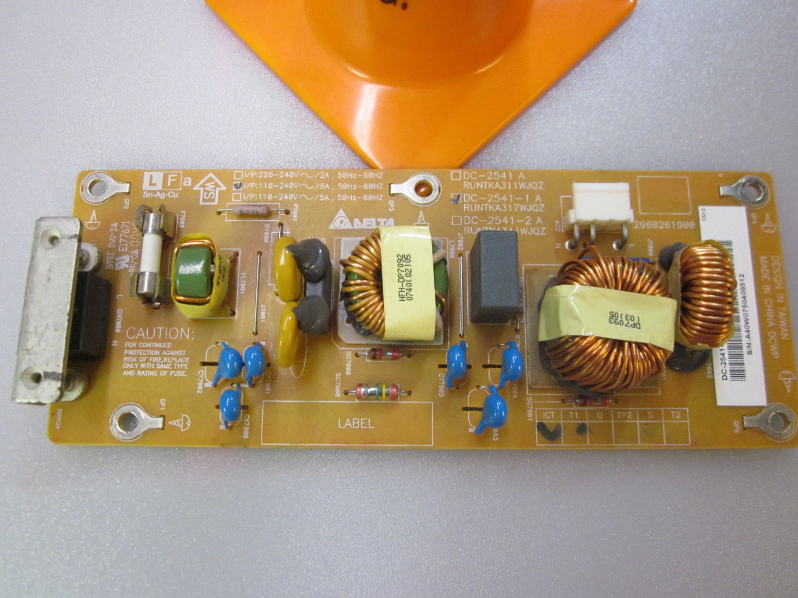 Primary image for Sharp RUNTKA317WJQZ (DC-2541-1 A, 2960261900) SMPS Board