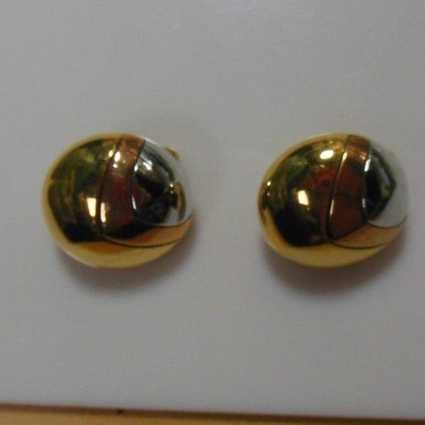 Primary image for Signed Crown Trifari Two-tone Dome Clip Earrings
