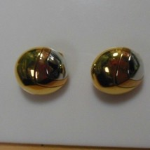 Signed Crown Trifari Two-tone Dome Clip Earrings - $34.65