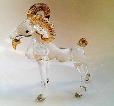 Glass Figurines Goat Blown Animal Hand Mini Art Gift Gold Painting Decor... - $8.72