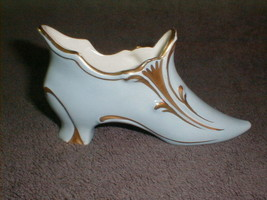 Vintage carlin comforts porcelain shoe slipper french style applied gold VG - $35.00