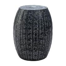 Round Garden Stool, Metal Black Moroccan Lace Decorative Portable Garden... - £60.49 GBP