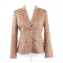 Black beige red polka dot 100% cotton ISAAC MIZRAHI long sleeve blazer jacket 4 - $14.99