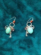 turquoise dangling earrings pierced - $19.99