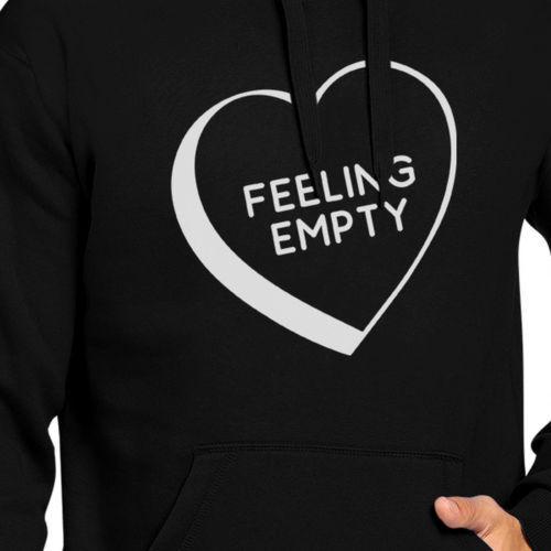 Feeling Empty Heart Unisex Black Hoodie Letter Printed Cute Design