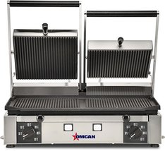 Omcan 19937 Commercial Restaurant Double Panini Pita Ribbed Sandwich Gri... - $789.00