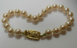 "Signed Monet Knotted Faux Pearl Bracelet 7.5"" - $18.80"