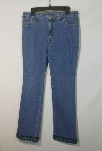 RARE 3 PALMS WOMEN'S DENIM JEANS EMBROIDERED TURQUOISE DESIGN COTTON SIZE 12