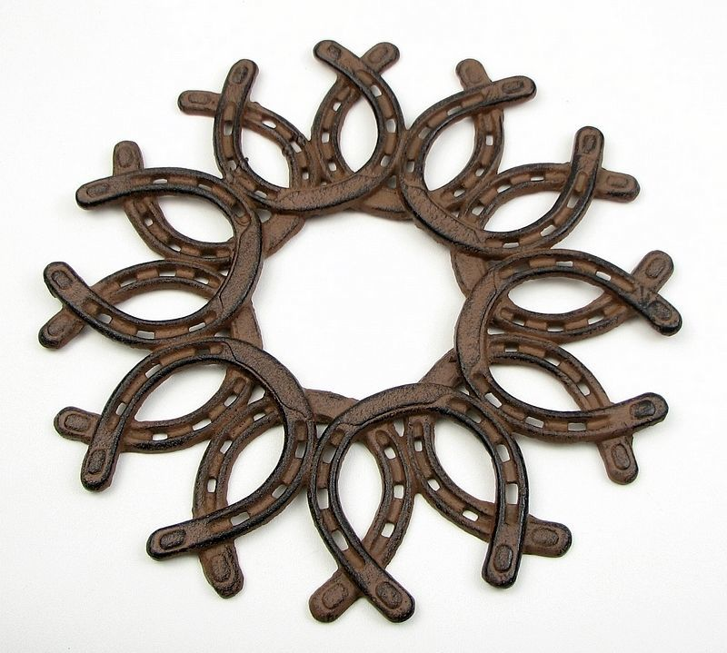 Large Cast Iron Horseshoe Wreath Western Decor